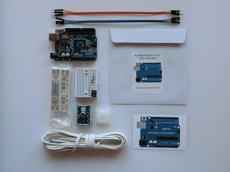 Kit de inicio de proyecto electrónico para Arduino. Arduino Uno R3 ATmega328P compatible con placa + sensor de movimiento PIR IR + sensor de puerta ...