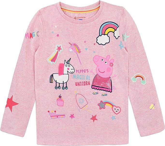 Peppa Pig T-Shirt l Girls Peppa Pig /& Unicorn Tee l Kids Peppa Pig Top
