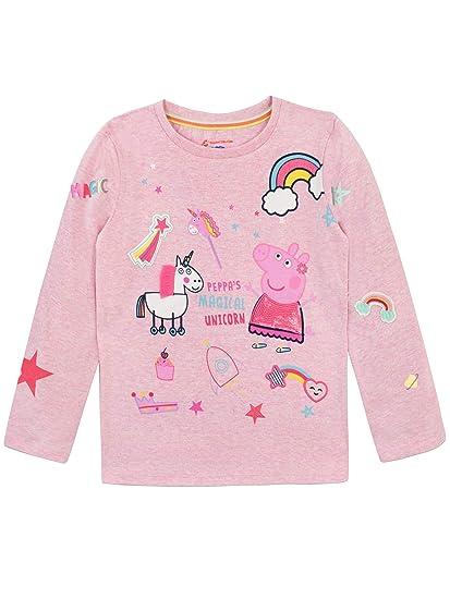 Peppa Pig Camiseta de Manga Larga para niñas Unicornio: Amazon.es: Ropa y accesorios