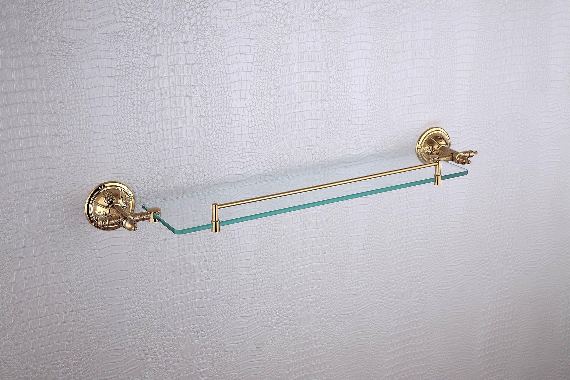 Cloud Power Royal Style Bathroom Brass Single Glass Shelves Single Glass Shelves With Titanium Wall-mounted Single Glass Shelves