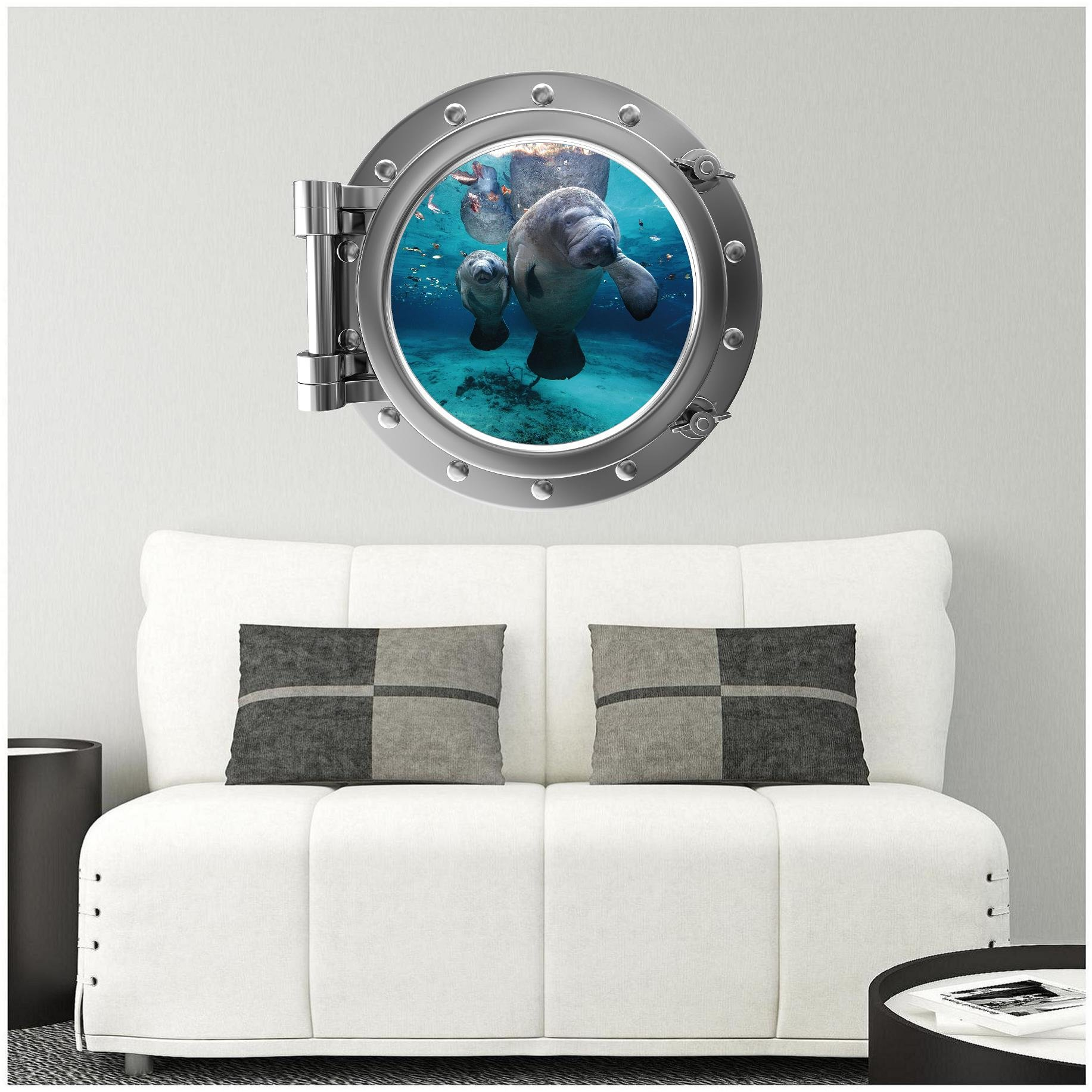 24'' Port Scape Manatee with Cub 1 SILVER Porthole Window Wall Decal Sticker Mural Home Kids Game Room Art Decor Instant Sea Window
