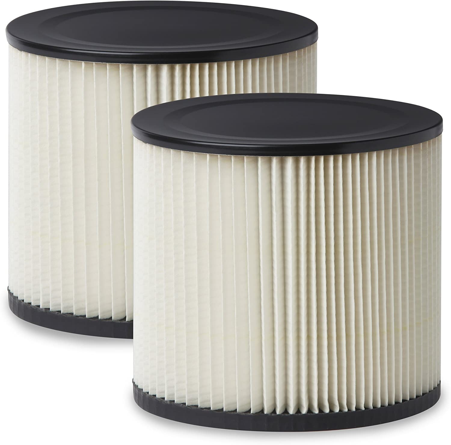 Multi-Fit Wet Dry Vac Filters VF2007TP Standard Wet Dry Vacuum Filters (2 Pack - Shop Vacuum Cleaner Filters) Fits Most 5 gallon & Larger Shop-Vac, Vacmaster & Genie Shop Vacuum Cleaners