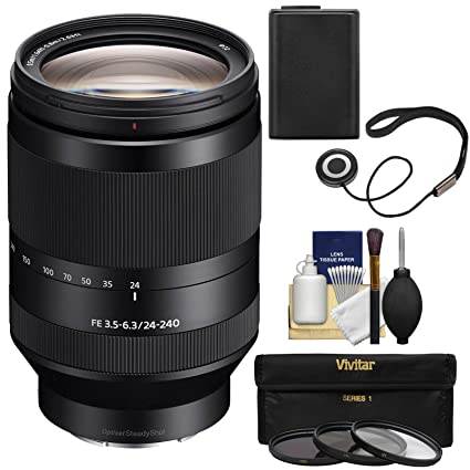 Sony Alpha E-Mount FE 24-240mm f/3 5-6 3 OSS Zoom Lens with 3 UV/CPL/ND8  Filters + Battery + Kit for A7, A7R, A7S Mark II III Cameras