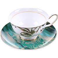 MengFeng Bone China Tea Cup and Saucer (Blue)