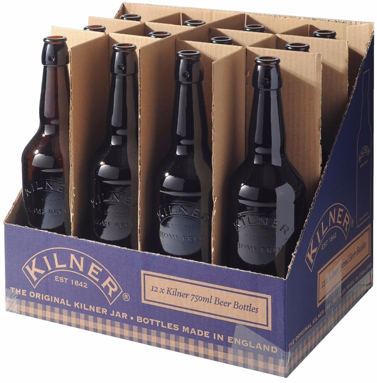 12 x Kilner Bottle Home Brew Brown Glass Beer Bottle Cider Bottles 750ml