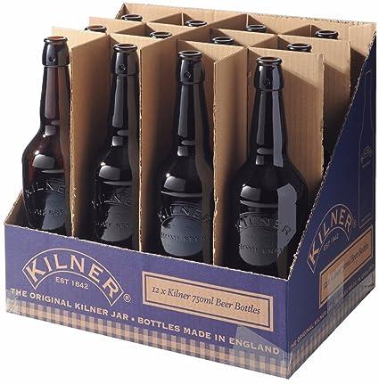 12 x Kilner botella balliihoo Homebrew cerveza botella de sidra de cristal marrón botellas 750 ml