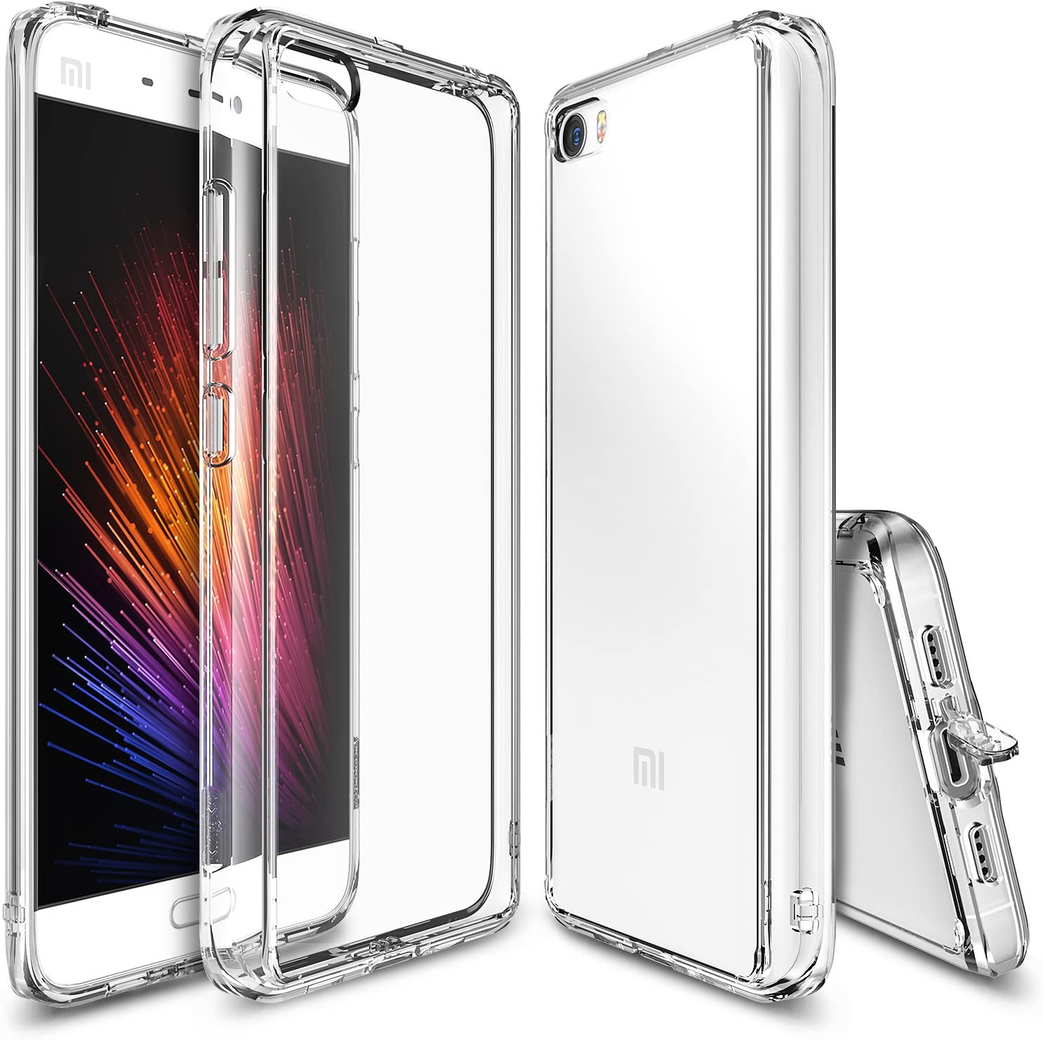 Ringke Xiaomi Mi 5 Case Funda, [Fusion] Crystal Clear PC Back TPU Bumper [Drop Protection/Shock Absorption Technology][Attached Dust Cap] For Xaomi MI 5 - Clear