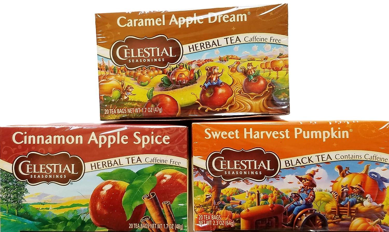 Caramel Apple Dream, Cinnamon Apple Spice, Sweet Harvest Pumpkin - Tea Bags - Limited Edition Fall Variety Bundle of 3 Boxes - 60 Total Tea Bags
