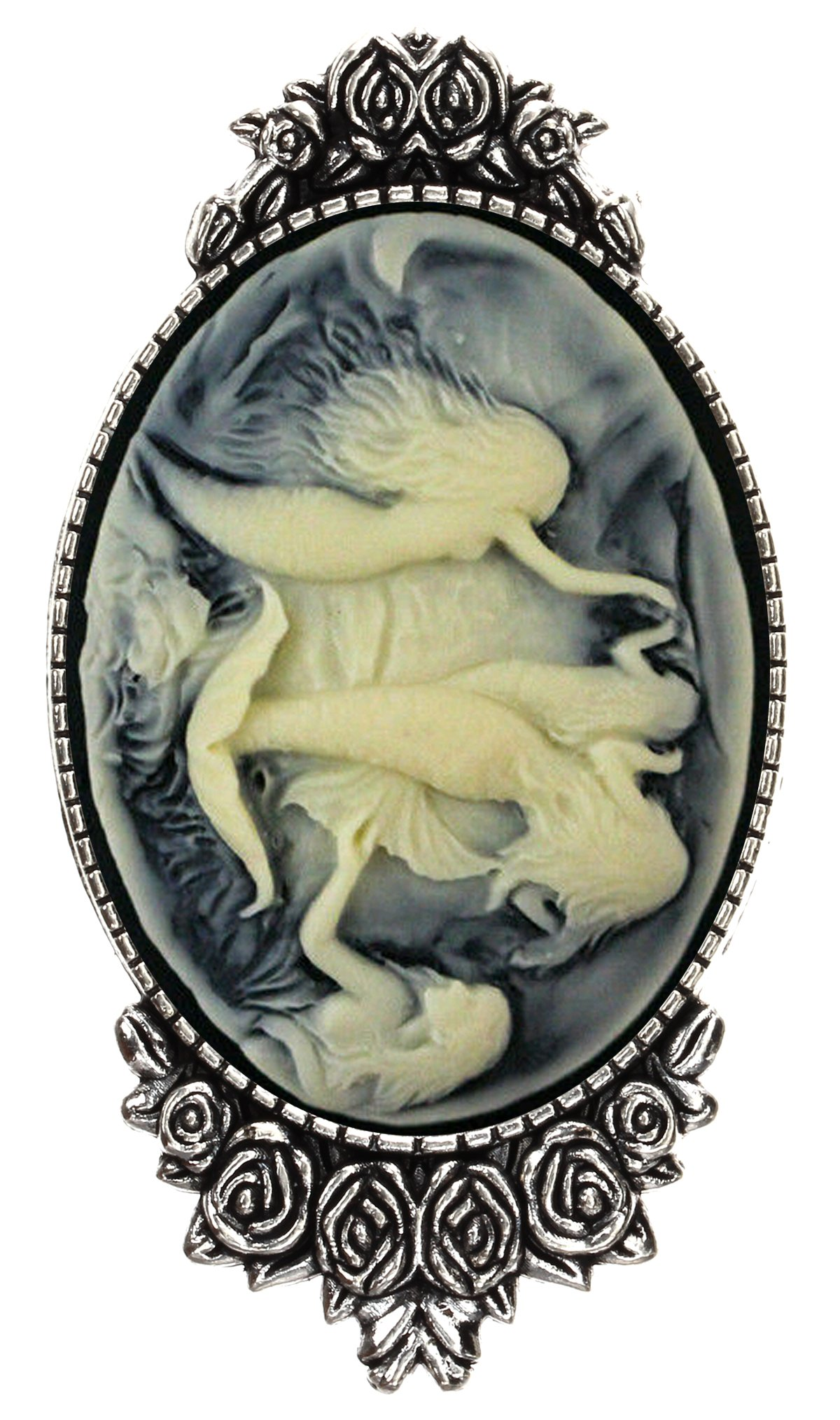 Mermaid Princess Brooch Pin Rose Decor Antique Silver Fantasy Jewelry Pouch for Gift