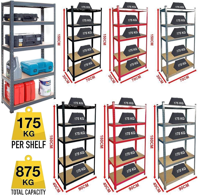 DayPlus 5 Tier Heavy Duty Boltless Metal Shelving Shelves Storage Unit Garage Home New