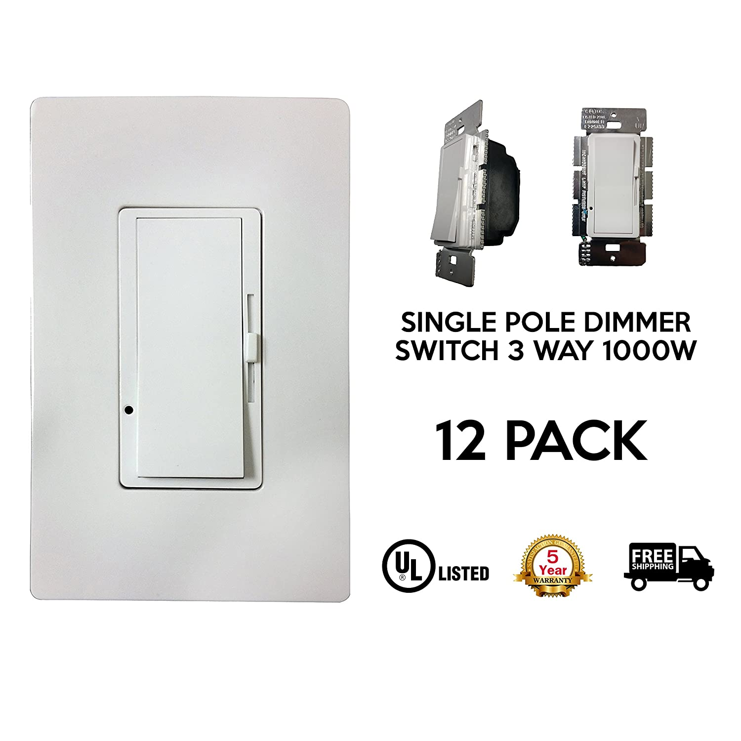 Single Pole Slide, Dimmer Switch, 3-Way 600W, LED And Incandecent ...