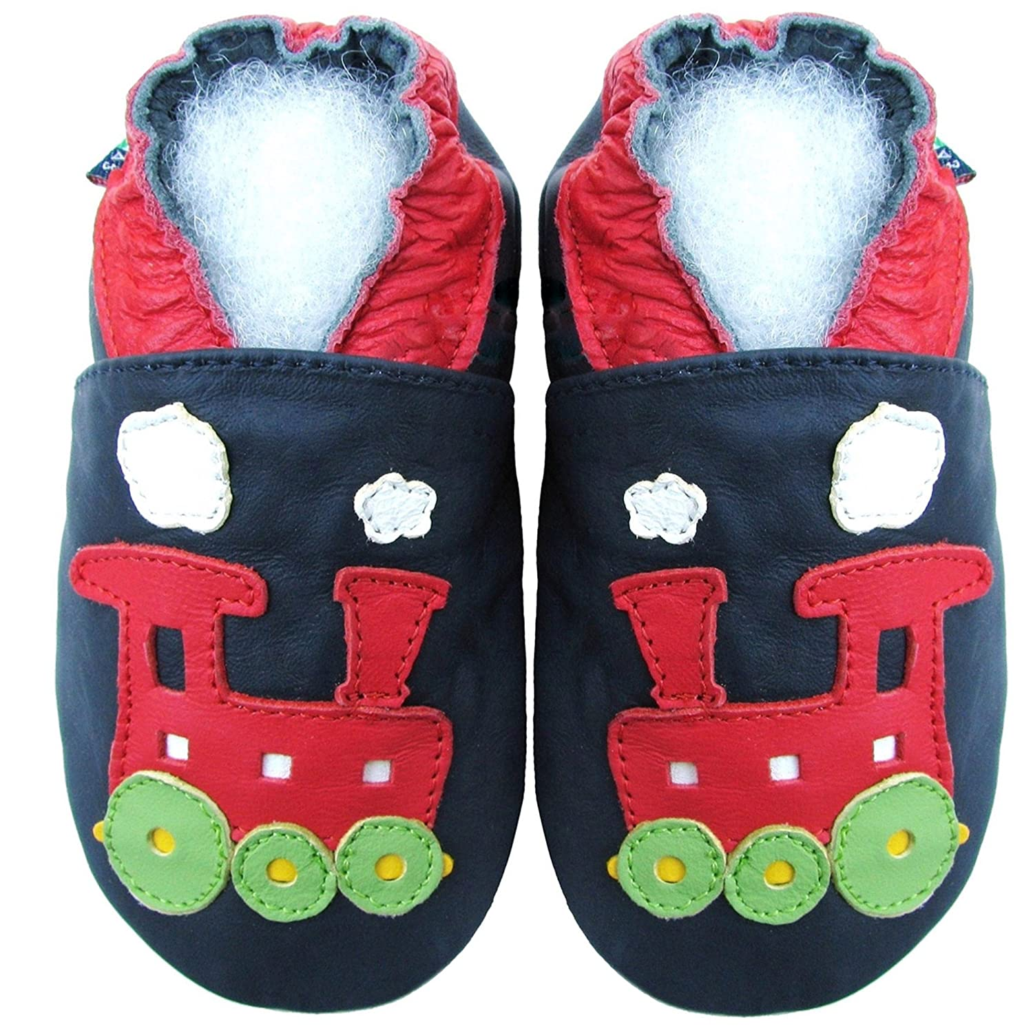 Carozoo Train Dark Blue S Unisex Baby Soft Sole Leather Shoes Kids Toddlers