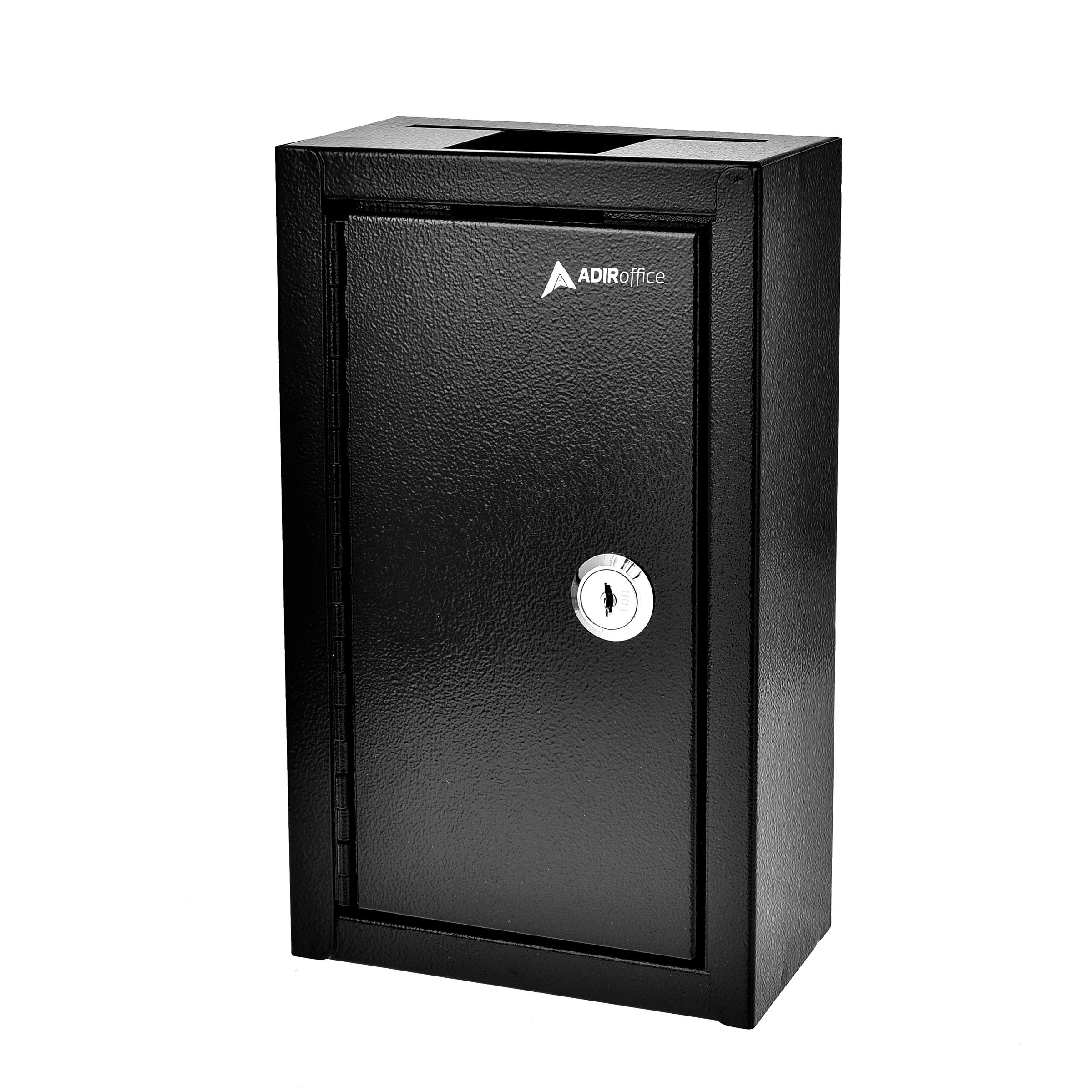 AdirOffice Large Key Drop Box - Large Capacity Commercial Grade Storage Box - Safe & Secure Parcel & Packages - for Home & Business Use (Black)
