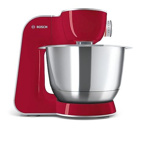 Bosch MUM58720 CreationLine - Robot de cocina (1000 W, acero inoxidable), 7 accesorios, color rojo