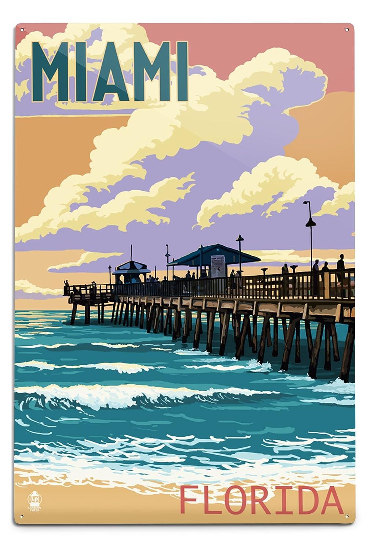 大人気定番商品 マイアミ Sign、フロリダ州 – 釣りと桟橋サンセット 12 B06Y1K1RCX x 12 18 Metal Sign LANT-44818-12x18M B06Y1K1RCX 12 x 18 Metal Sign, 緒方商会:bfbf321a --- 4x4.lt