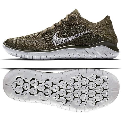 Nike Men's Free RN Flyknit 2018, Cargo KhakiPure Platinum