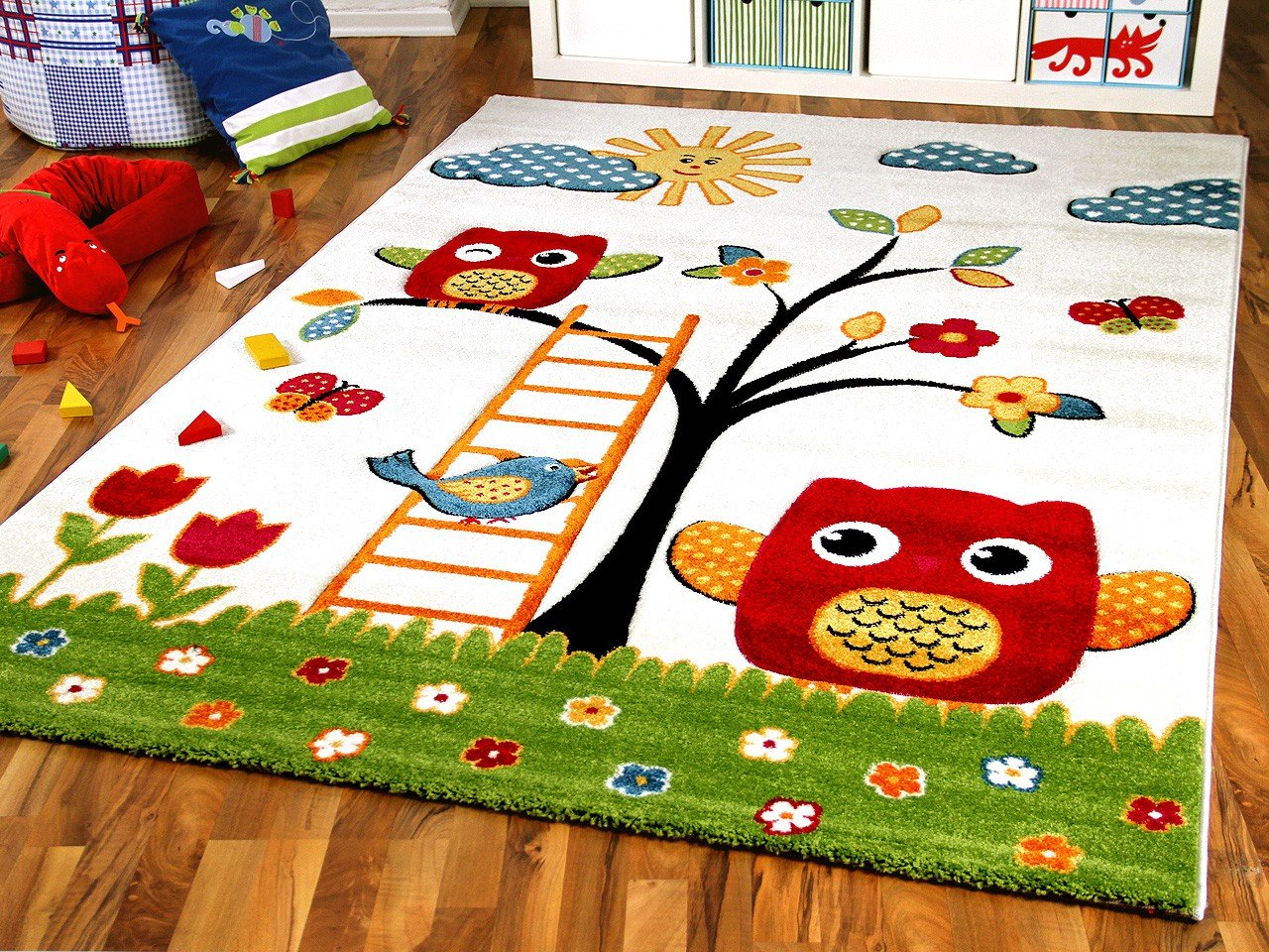 Kinder Teppich Savona Kids Glückliche Eulenwelt Creme in 5 Größen