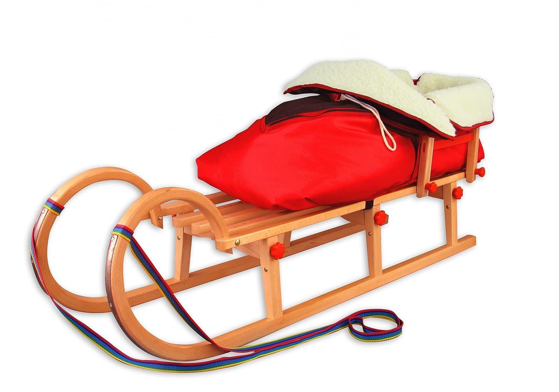 21-125-Lehne-W-rot Klappschlitten Hörnerschlitten 125 cm mit Lehne u Fußsack Lammwolle