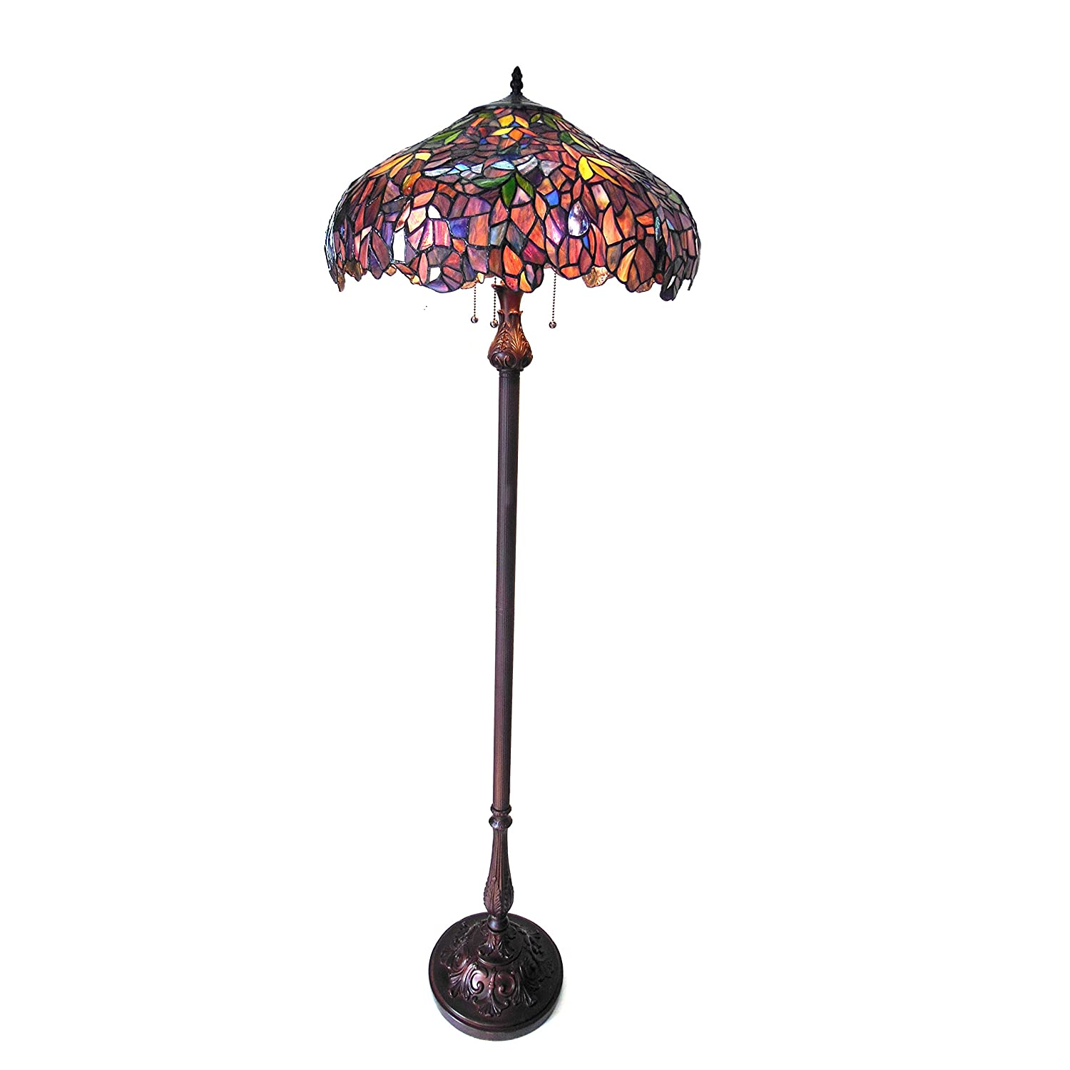 Chloe CH18045PW20-FL3 Katie Tiffany-Style Floor Lamp with 20 Shade, 64 x 20 x 20, Multicolor