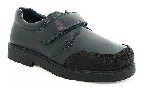 Zapatos escolares para niño en color azul marino y de piel (24)