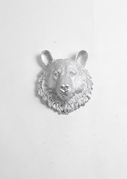 Amazon.com: The Hector   Mini Resin Bear Head   Silver Bear Head ...