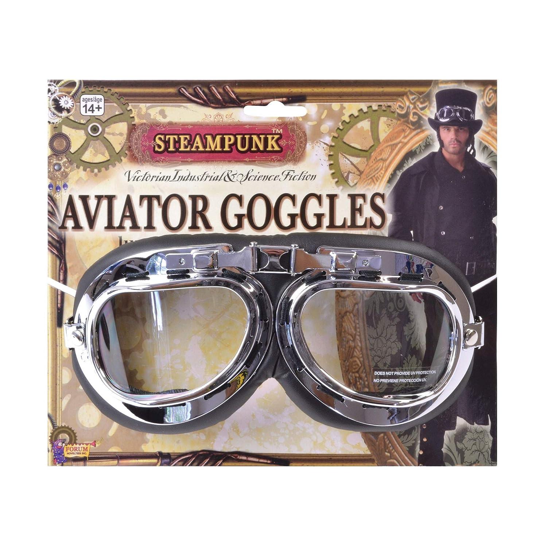 Forum Novelties Men's Steampunk Victorian Aviator Goggles Black/Silver One Size Forum Novelties Costumes 66239
