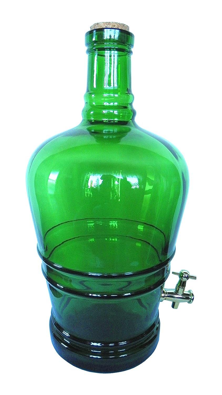 Botella de cristal 5L con corcho y grifo. Botella Dispensador de bebidas gärballon Cristal Globo Purgador caño: Amazon.es: Hogar