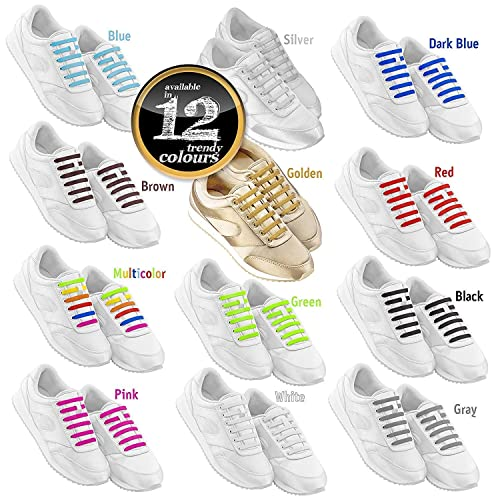 fac28d1e08849 No Tie Shoelaces for Kids & Adults. The Elastic Silicone Shoe Laces ...