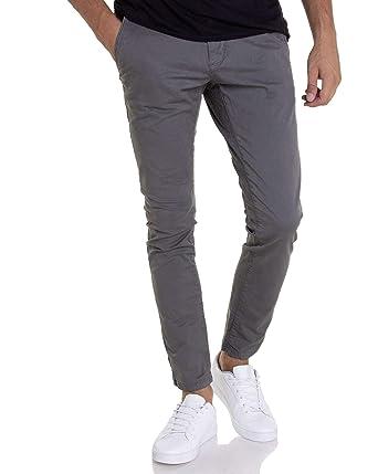 81a7b4ecb9b Petrol Industries - Pantalon Toile Gris TRO583 avec Ceinture pour Homme   Amazon.fr  Vêtements et accessoires