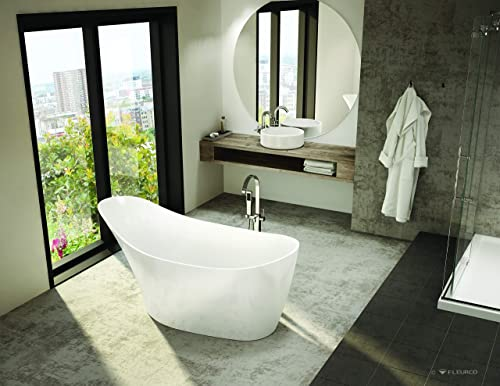 "Fleurco Aria CRESCENT petite 66"" x 32"" x 44"" Freestanding Acrylic Soaking White Bathtub BCR6531"