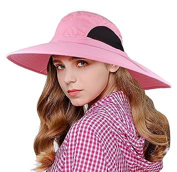 EINSKEY Sombrero Mujer Playa de ala Ancha de Verano Plegable Sombrero Pesca  Impermeable (Azul  892875e776e2