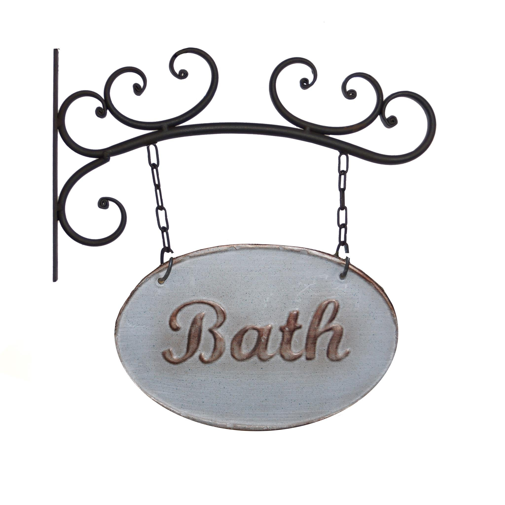 Vintage Rustic Wall Mounted Bracket with Double Sided Hanging Sign, Bath