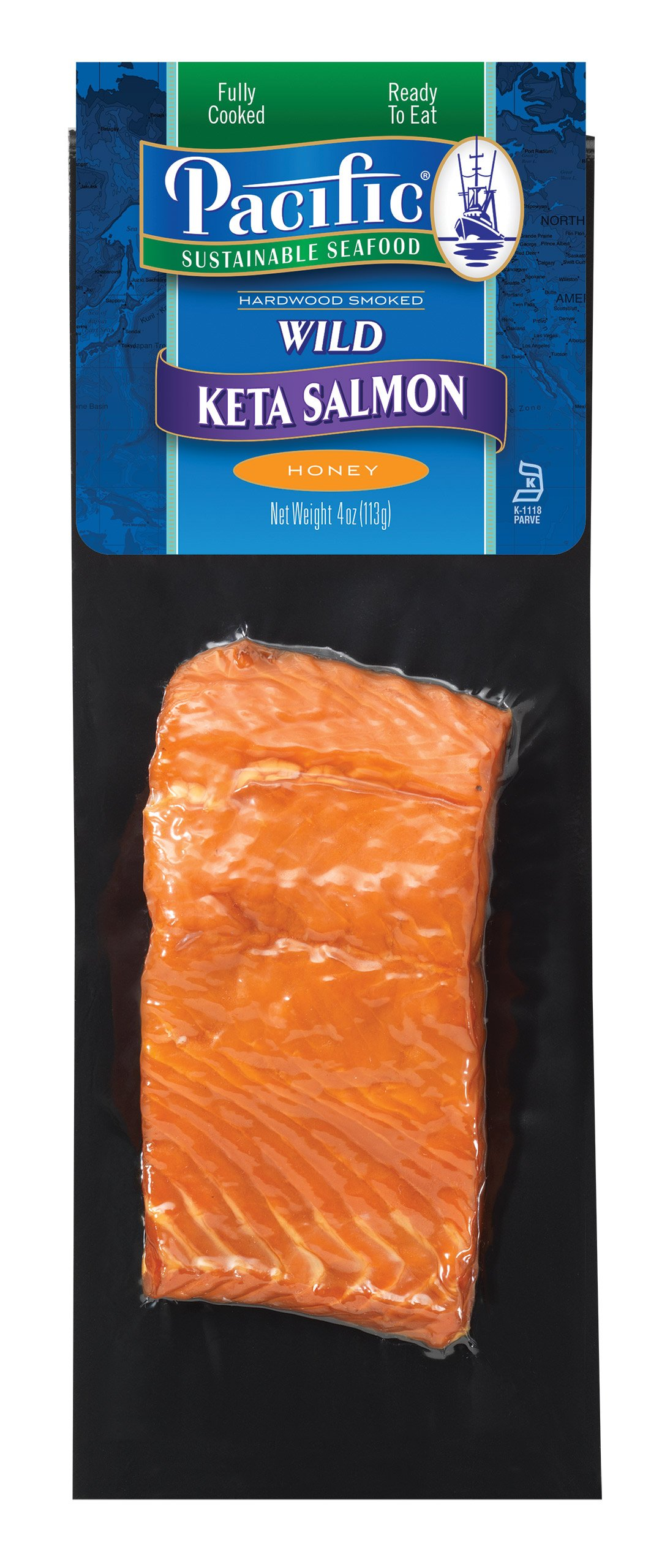 Smoked Salmon Port Keta Frozen, 3 lbs Total, 4 Oz Honey Hot Portions by Newport