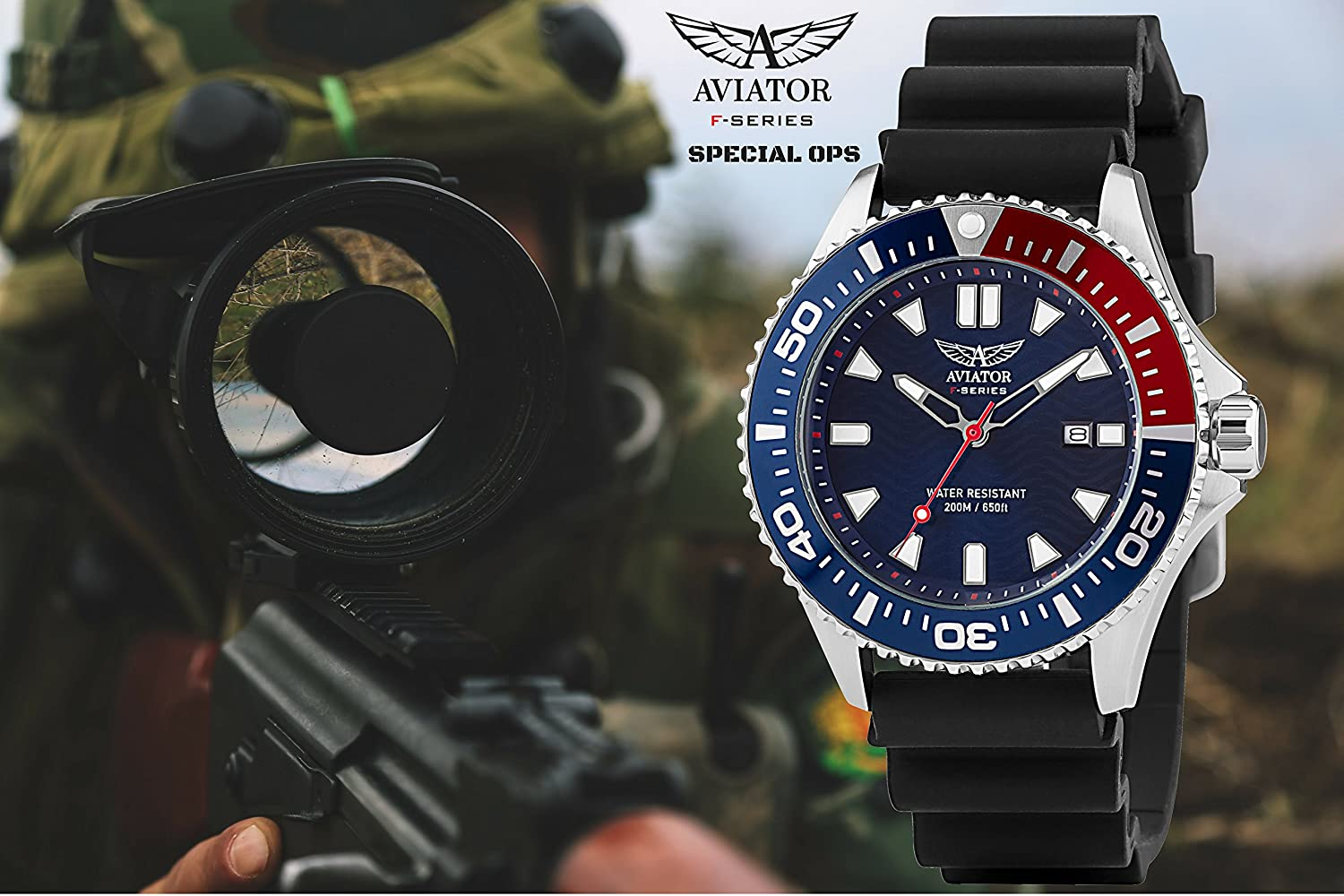 Amazon.com: AVIATOR Special Ops Diver Watch – Divers WR 200m Wristwatch – Army Military Paratroopers Analog Quartz: Aviator F-Series: Watches