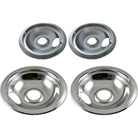 "Chrome Drip Pan Set Replacement for Frigidaire Kenmore 316048413 and 316048414: 2 ea 6"" and 8"""