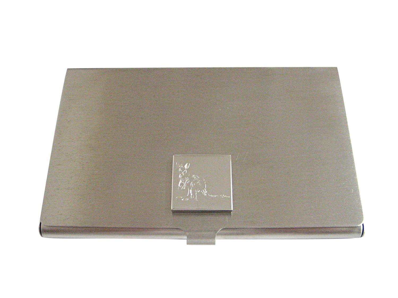 Silver Toned Etchedカンガルービジネスカードホルダー   B01JFF7ZGM