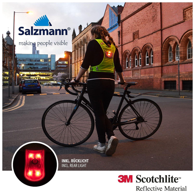 Salzmann Chaleco Reflectante con luz LED para Practicar Deporte Material Reflector 3M Scotchlite Alta Visibilidad