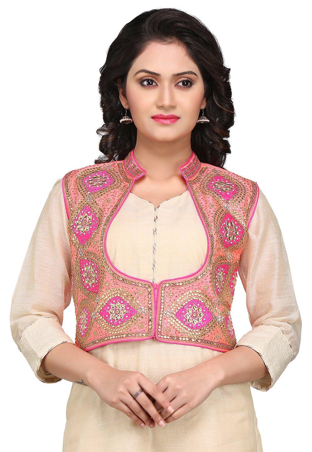 Utsav Fashion Gota Patti Embroidered Dupion Silk Jacket in Pink by Utsav Fashion