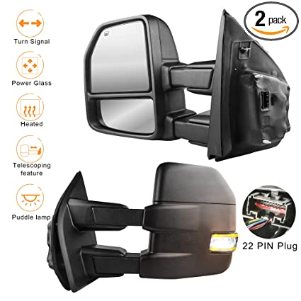 amazon com: mostplus new power heated towing mirrors for ford f150 2015  2016 2017 w/turn signal, auxiliary,clearance & puddle lights-22 pin plug  (set of 2):