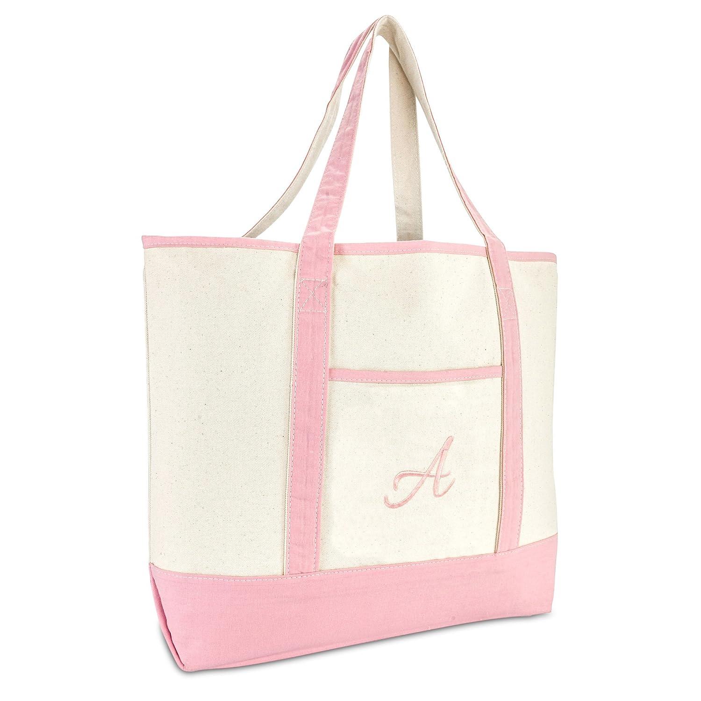 d052d6aecc Amazon.com  DALIX Women s Cotton Canvas Tote Bag Large Shoulder Bags Pink Monogram  A  Shoes