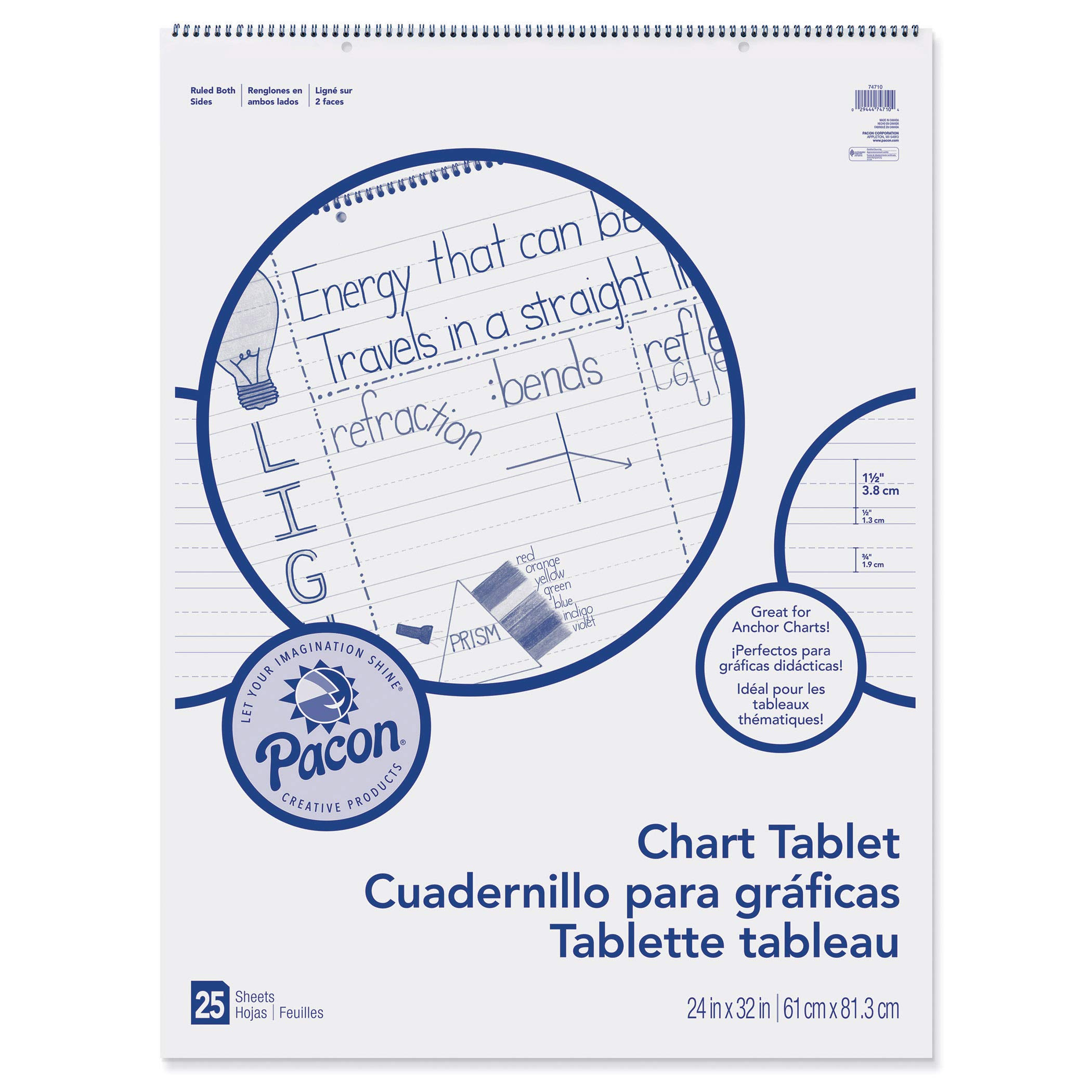 Pacon PAC74710BN Chart Tablet, Manuscript Cover, 1-1/2'' Ruled, 24'' x 32'', 25 Sheets, Pack of 2