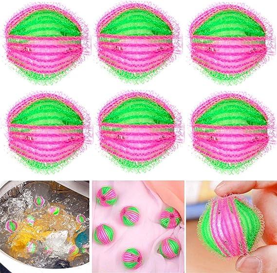 6Pcs//Set Hair Lint Fluff Grabbing Remover Laundry Washing Machine Dryer Balls