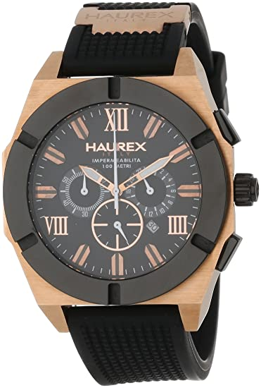 Amazon.com: Haurex Italy Mens 3R305UNH Challenger Rose Gold Tone Chronograph Date Luminous Black Rubber Watch: Watches