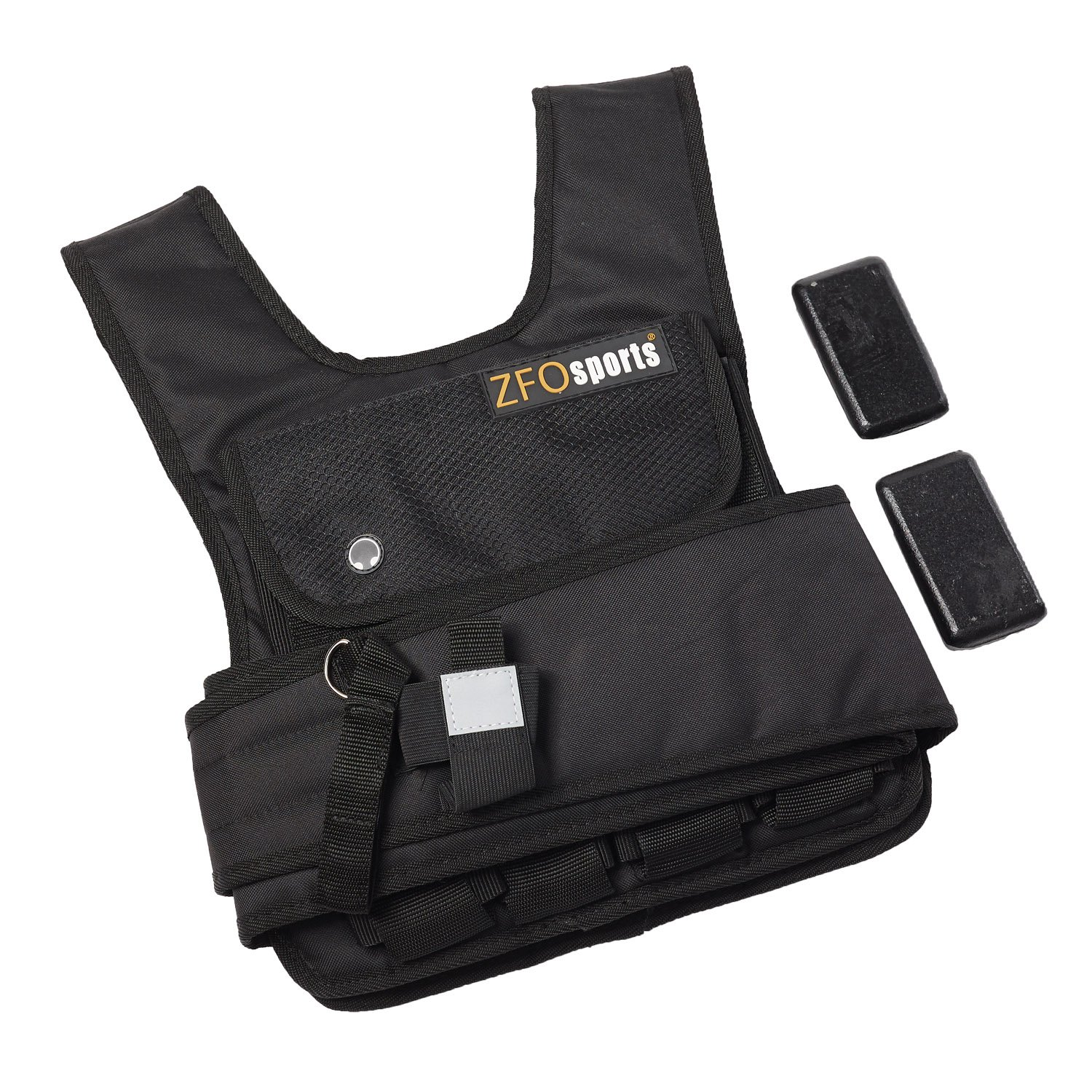 ZFOsports 50lbs SHORT Adjustable Weighted Vest with IRON WEIGHTS, PHONE POCKET, AND WATER BOTTLE HOLDER by ZFOsports