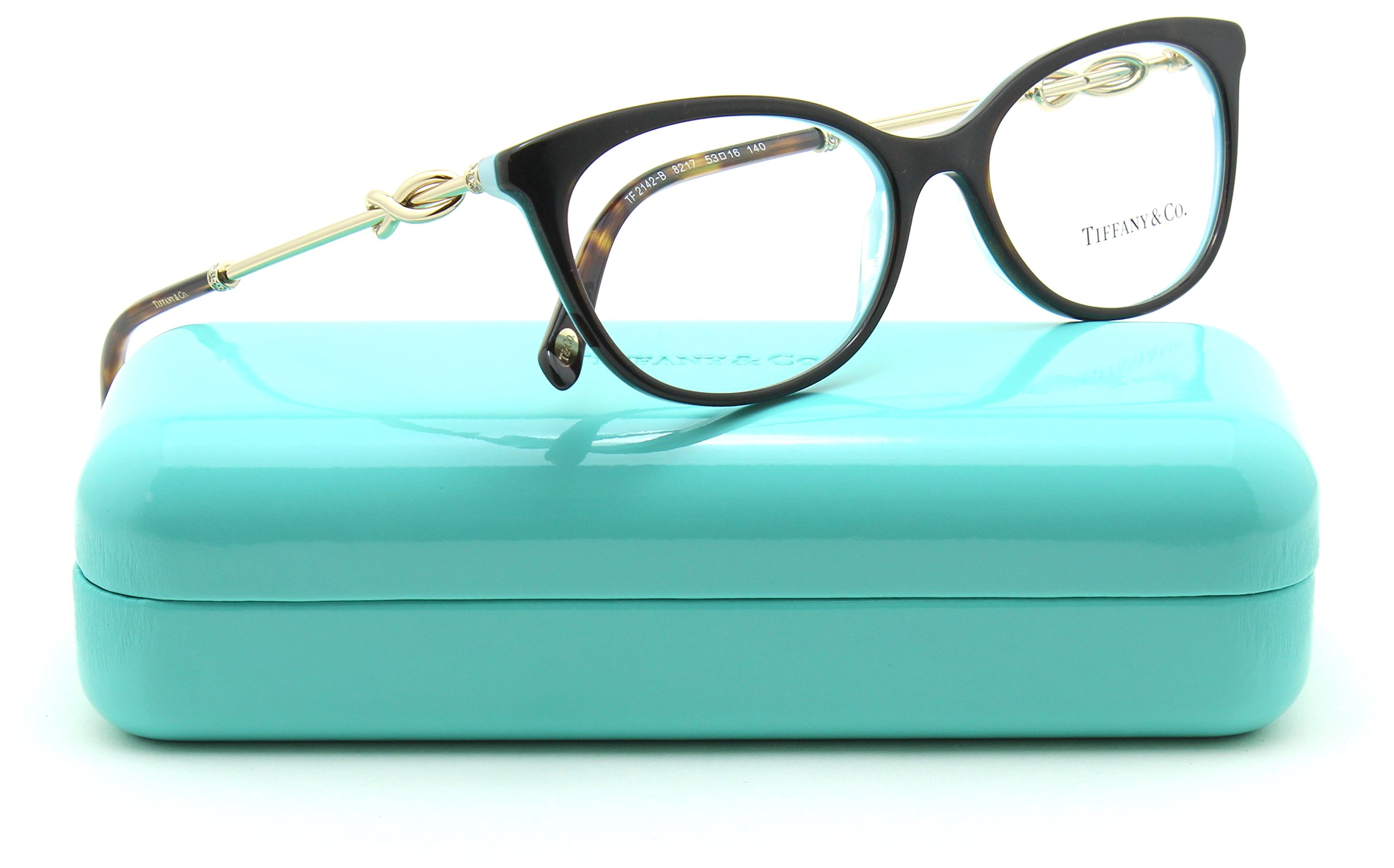 Tiffany & Co. TF 2142-B Women Eyeglasses RX - able Frame (HAVANA/STRIPED BLUE 8217, 51)