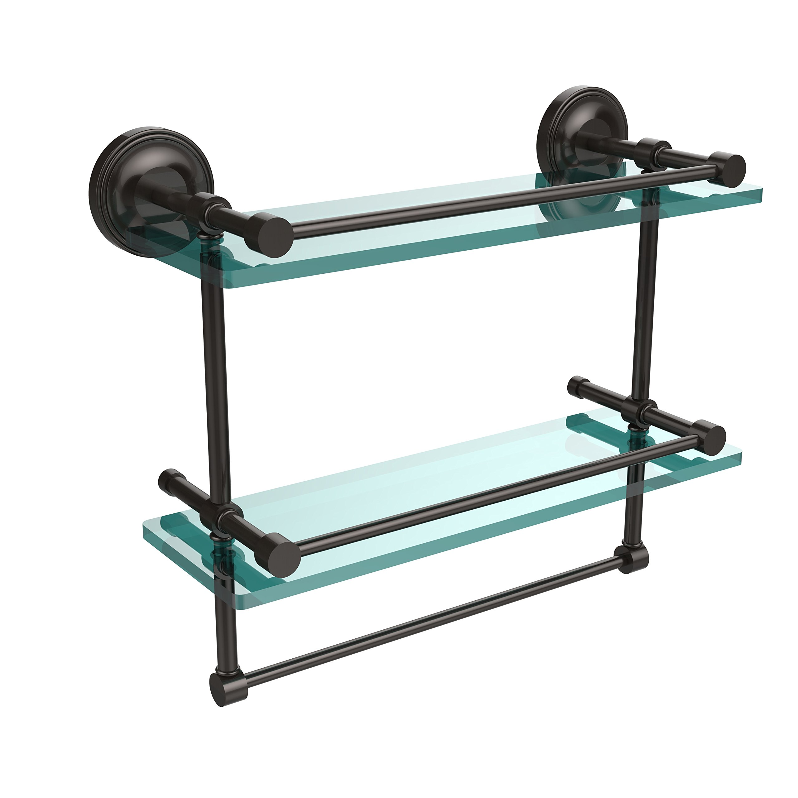 Allied Brass PRBP-2TB/16-GAL-ORB 16-Inch Gallery Double Glass Shelf with Towel Bar, Oil Rubbed Bronze by Allied Precision Industries