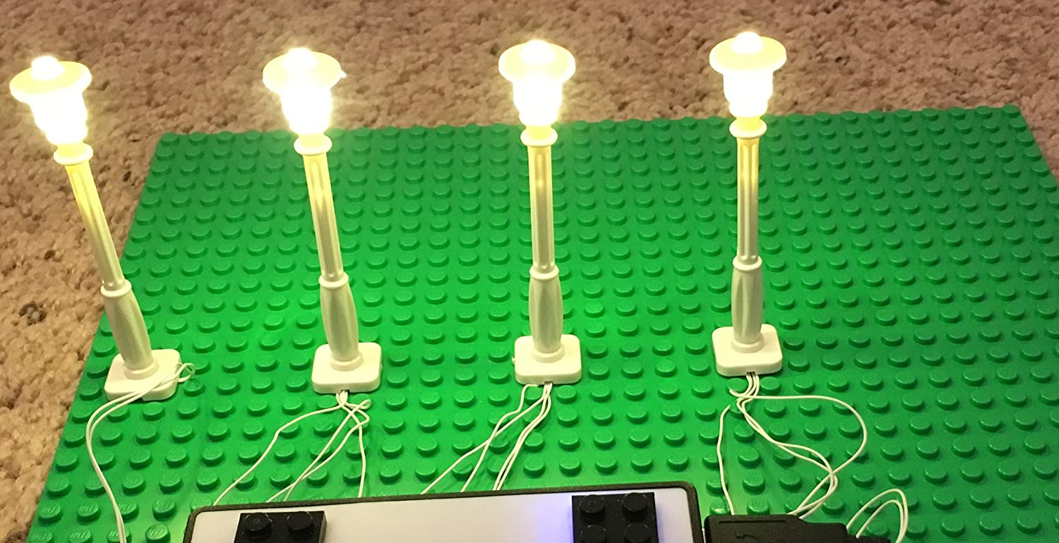 brickled White Lamp Post led Street Light for Lego USB Connected 4 Posts