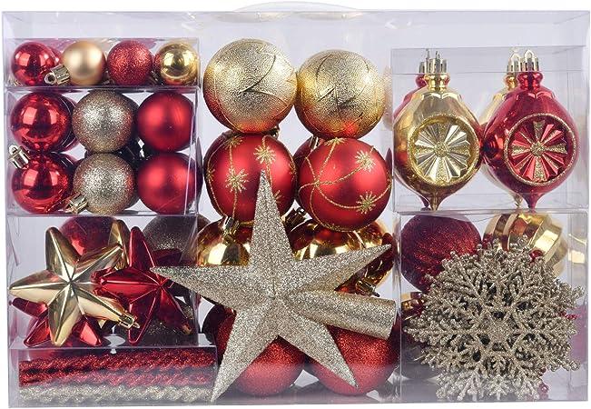 YILEEY Adornos de Navidad Decoracion Arboles de Navidad Bolas de Plastico, Dorado y Rojo, 108 Piezas en 19 Tipos, Caja de Bolas de Navidad de Plástico Inastillable con Percha, Adornos Decorativos: Amazon.es:
