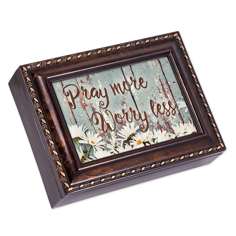 【福袋セール】 Pray More Grace B01G7OPXYK Worry LessデイジーBurlwood仕上げジュエリー音楽ボックスPlays Pray Amazing Grace B01G7OPXYK, 茶々VARGE:77e0272e --- arcego.dominiotemporario.com