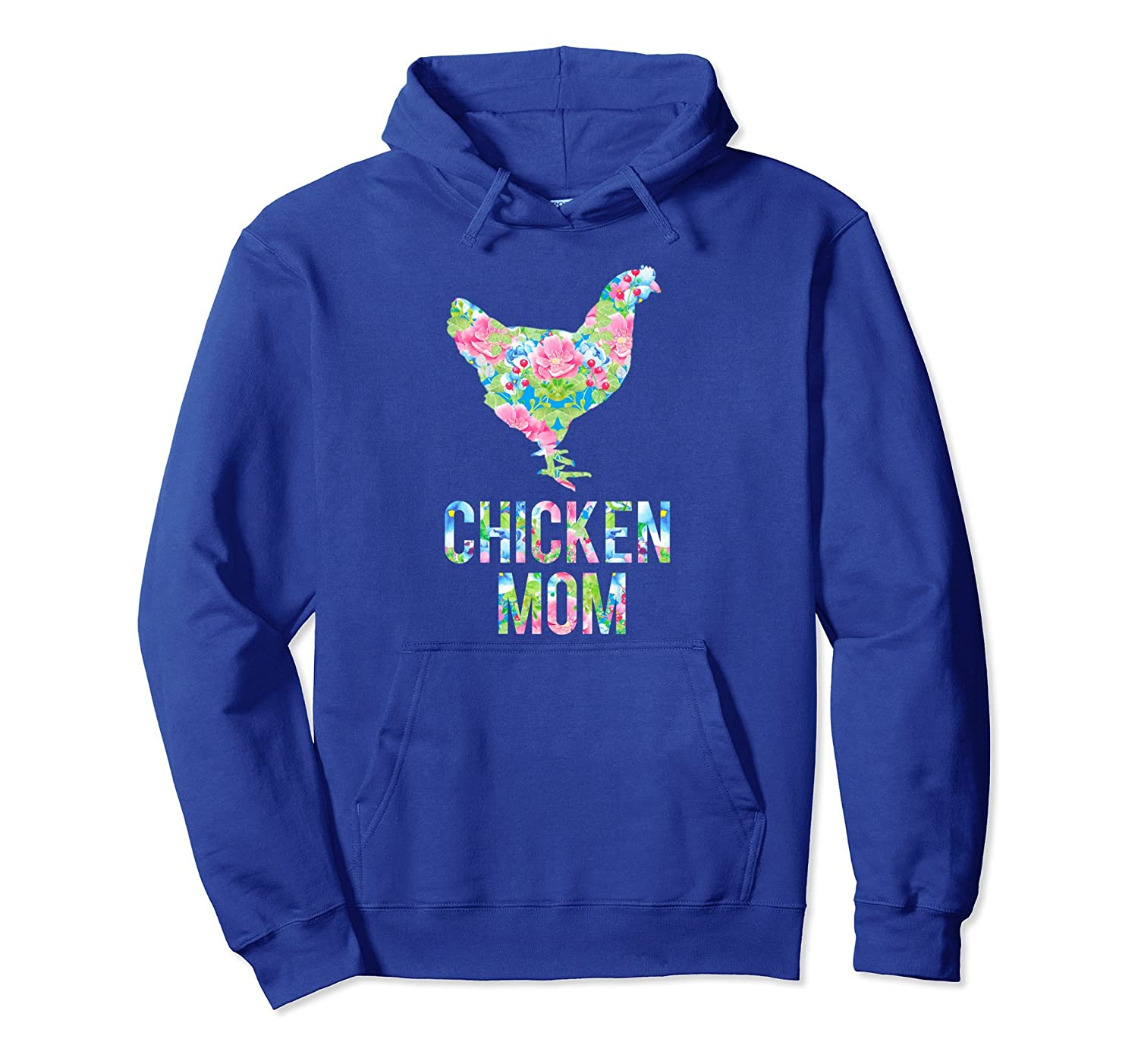 Chicken Mom Colorful Floral Chickens Hoodie-alottee gift